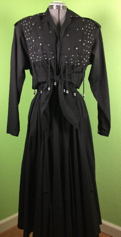 Western dress Vintage Small fringe Varda Garfinkel studs Black 80s