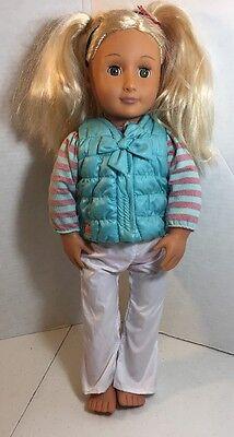 "Battat Our Generation Doll Blonde Hair Hazel Eyes 18"" Dressed No Shoes EUC"