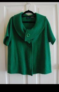 Vintage style green merino wool cardigan blouse xl 14 see saw