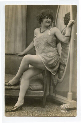 1920s Risque n/ Nude French RPPC Real Photo Postcard CHUBBY LINGERIE Flapper