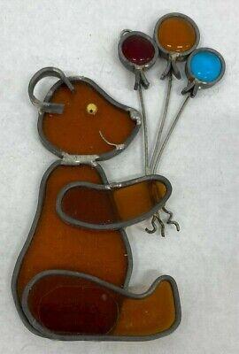 Vintage Handcrafted Leaded Stained Glass Bear Balloons Suncatcher Joplin (Glass Joplin Mo)