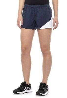 1/2 Split Shorts (ASICS Gunlap 1/2 Split Shorts Running Navy Made In USA MotionDRY Womens L New$40)