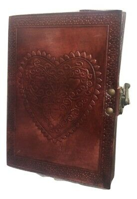 Large Vintage Heart Travel Diary Planner Retro Notebook Leather Journal Handmade
