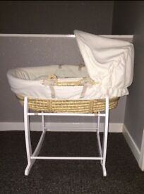 Mamas and Papas Moses basket with Clair de Lune rocking stand