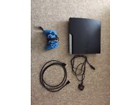 PS3 250gb with blue controller, HDMI and power lead