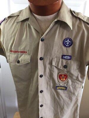 Boy Scouts Shirt Uniform Men's Medium Official Short Sleeve Tan Made In Usa