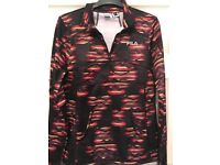 Ladies medium FILA long sleeve, quarter zip, running, cycling, exercise top