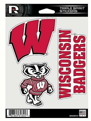 Wisconsin Badgers NCAA Triple Spirit Stickers / Decals  3 Pack *Free -