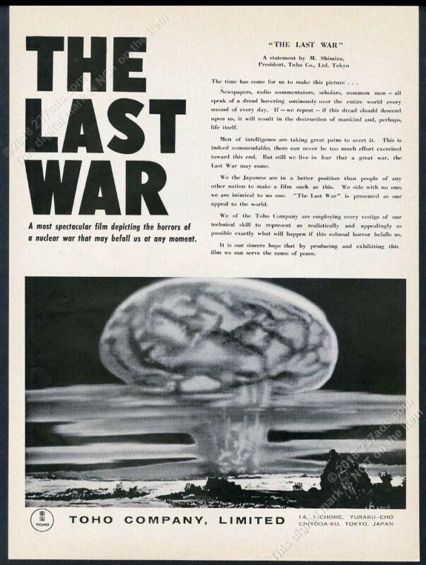 1961 The Last War movie release atomic bomb mushroom cloud art vintage print ad