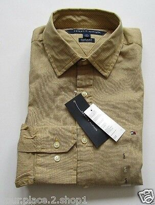 Mens L/s Mini (Tommy Hilfiger Mens L/S Custom Fit Yellow Mini Stripe Casual Button Front Shirt)