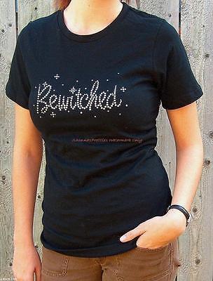 Womens BEWITCHED Rhinestone Embellished Black Short Sleeve Halloween T-Shirt - Womens Rhinestone Halloween Shirts