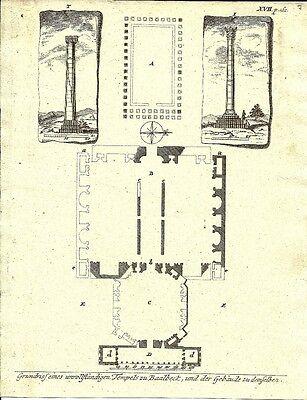 Antique engraving, Temples zu Baalbeck P XVII