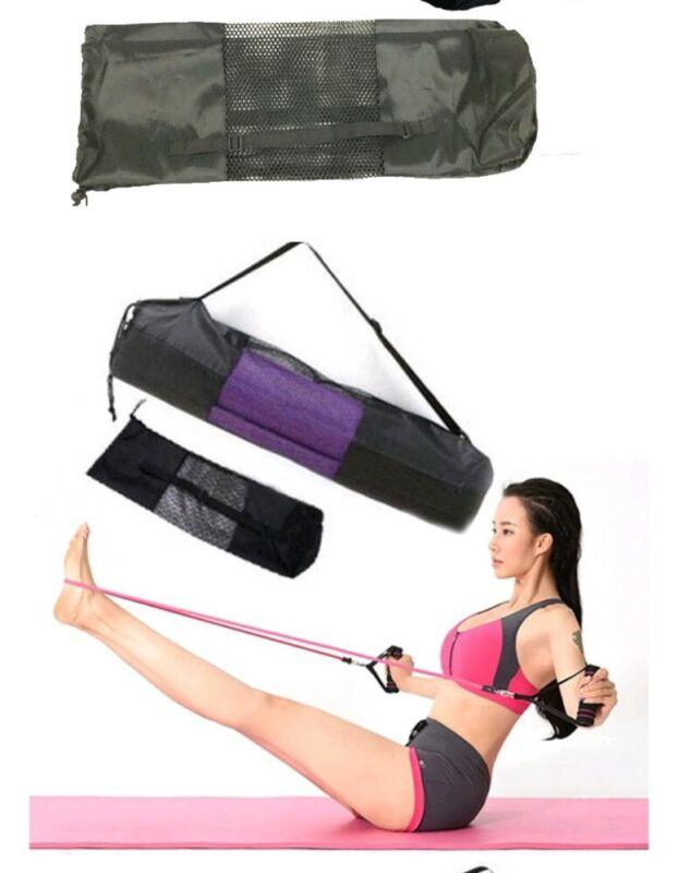 Black Yoga Mat Bag Exercise Fitness Carrier Nylon Mesh Washable Adjustable Strap