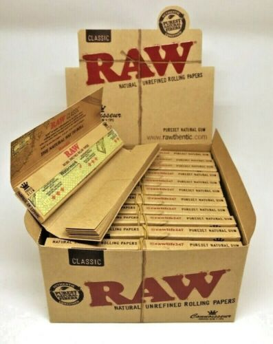 Authentic Raw Classic Connoisseur King Size Rolling Papers W/Tips *USA Shipper*