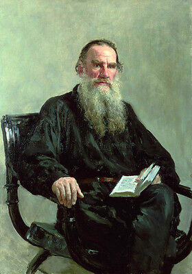 Nice Oil Painting Male Portrait Leo Tolstoy World Famous Writer Holding Book