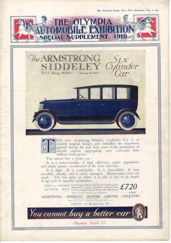 Olympia Automoile Exhibition  - 1919  -  London Illustrated News Magazine