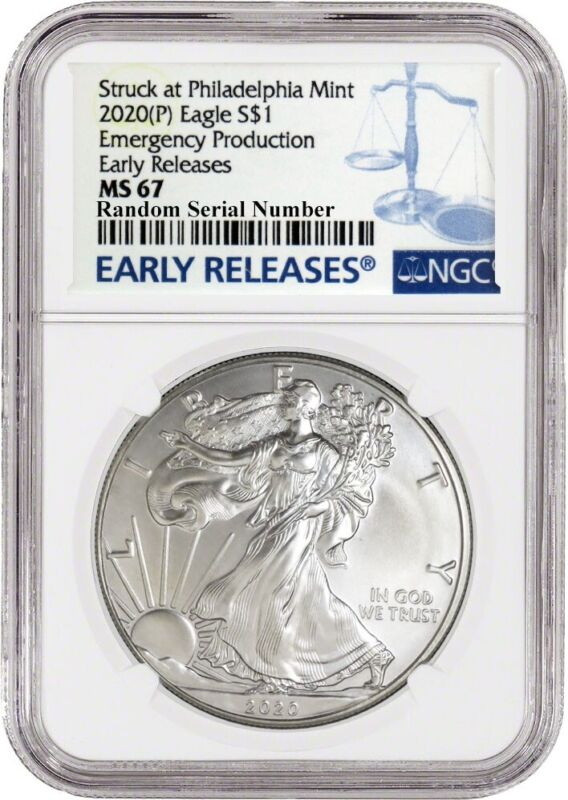 2020 (P) $1 Silver American Eagle NGC MS67 Early Releases ER Live Ready to Ship