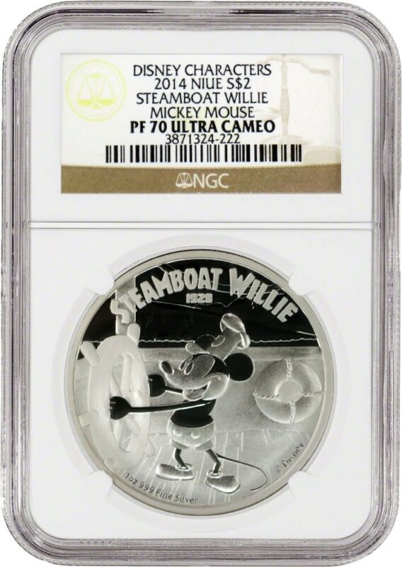 2014 $2 Niue Proof Mickey Mouse Steamboat Willie 1 oz .999 Silver NGC PF70 UC