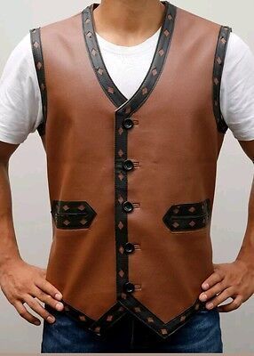 The Warriors Movie Faux Leather Vest Halloween Costume in Brown Color  - Warriors Movie Costume