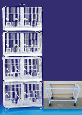 COMBO: 4 Stack and Lock Double Breeder Bird Breeding Cages W/Dividers W/Stand-25