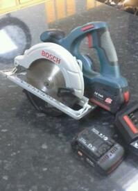 Bosch 18v cordless circular saw, with 2 x 18v batteries and charger