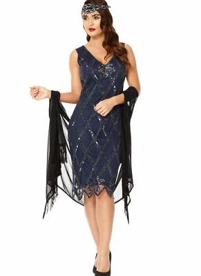 GatsbyLady Liz 20s Inspired Art Deco Navy Blue Flapper Dress Sequin Bead Tank 8 for sale  Shipping to Canada