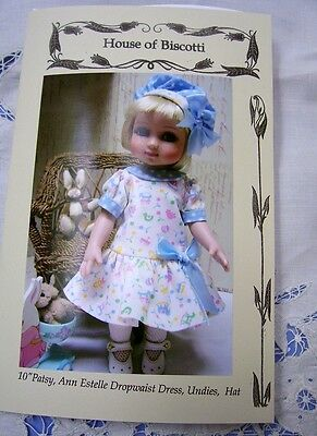 "Tonner 10"" Ann Estelle, Patsy, PATTERN for Drop Waist Dress, Hat, Undies"