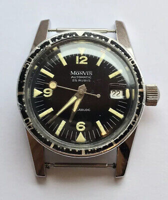Monvis Automatic Watch - Lollipop Hand - Swiss Made Vintage Divers Watch