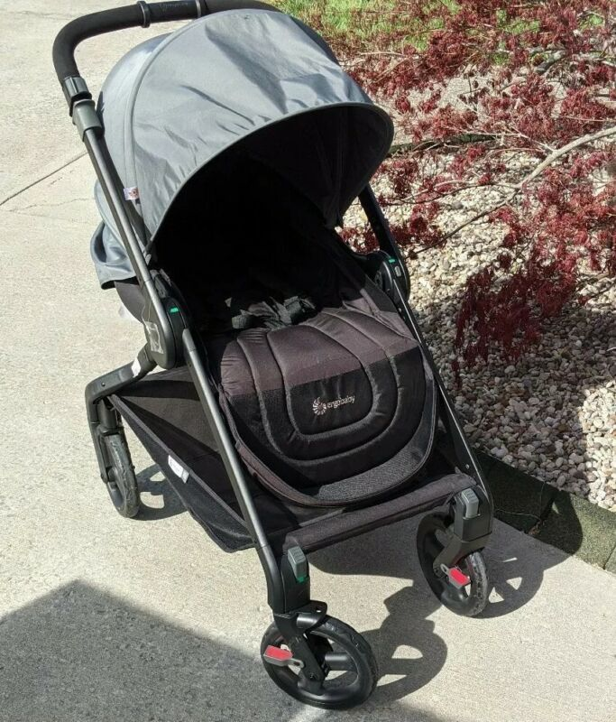 ERGObaby 180 Reversible One Hand Fold Compact Stroller. Misty Blue and Black.