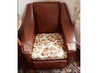 Vintage mid century leather/wood sofa & 2 chairs
