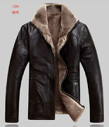 Mens XXL Brown Leather Jacket Coat