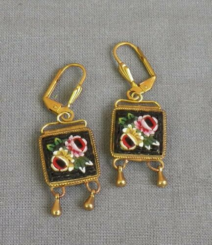 Old Vintage Victorian Style Drop Dangle Floral Micro Mosaic Pierced Earrings