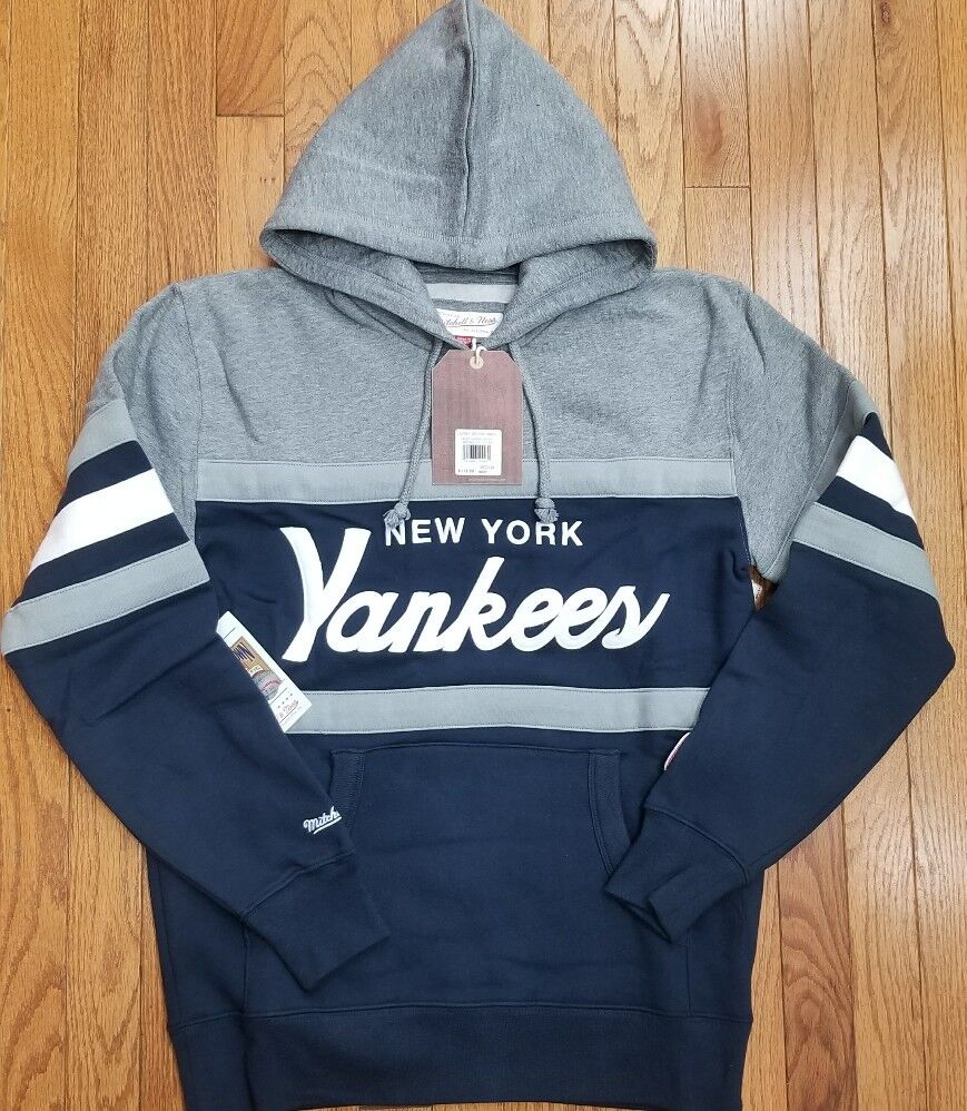 buy online 73665 4f381 Details about New York Yankees Mitchell & Ness MLB Men's Head Coach Hoodie  Navy Blue