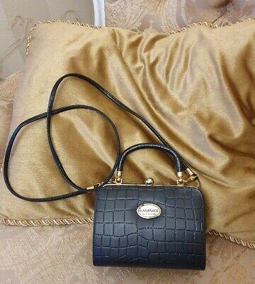 Gianni Versace 70s/80s vintage VERY RARE mock croc clutch purse Shoulder box bag