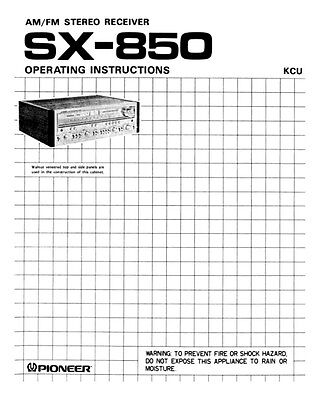 Pioneer SX-850 Receiver Owners Manual