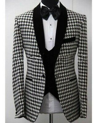 Wedding Men Suits Set for Man Groom Slim Fit Herringbone Houndstooth 3 -