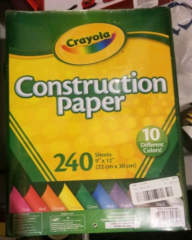 Crayola Construction Paper 240 Sheets 10 Different Colors BRAND NEW SEALED