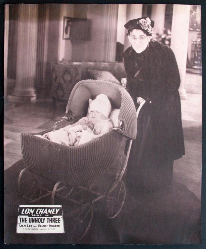 """THE UNHOLY THREE""-ORIGINAL JUMBO LOBBY CARD-LON CHANEY-1930-14 X 17"