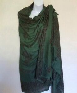 Om Yoga Meditation Hare Ram Prayer Green Shawl / Scarf  FairTrade Handmade Nepal