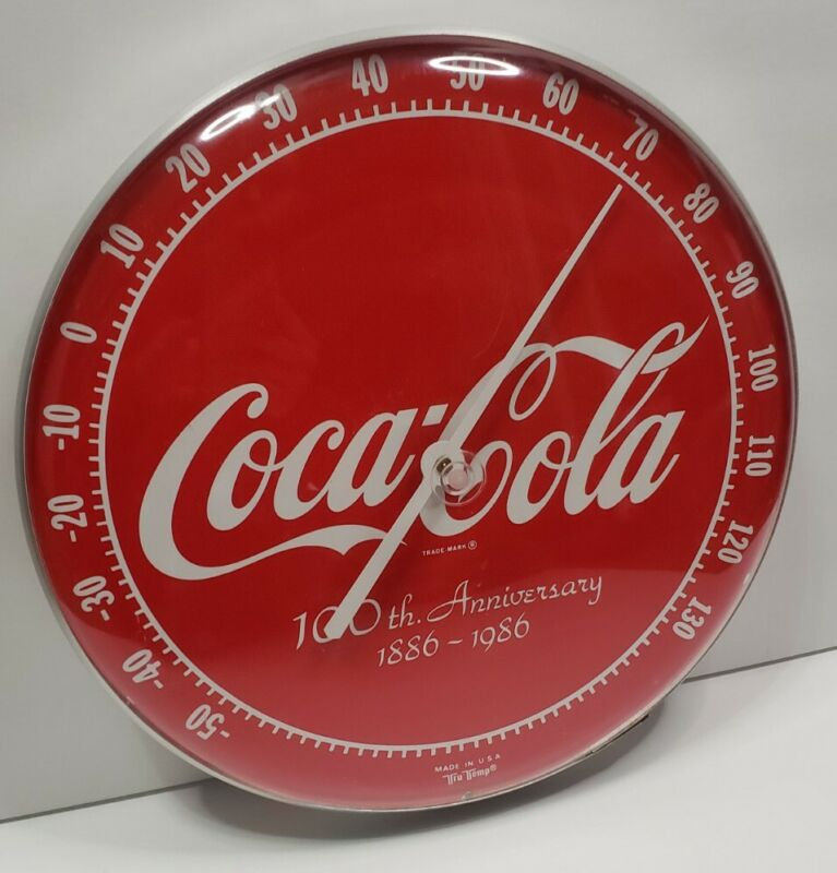 Vintage Coca-Cola Coke 100th Anniversary Wall Thermometer 1886-1986