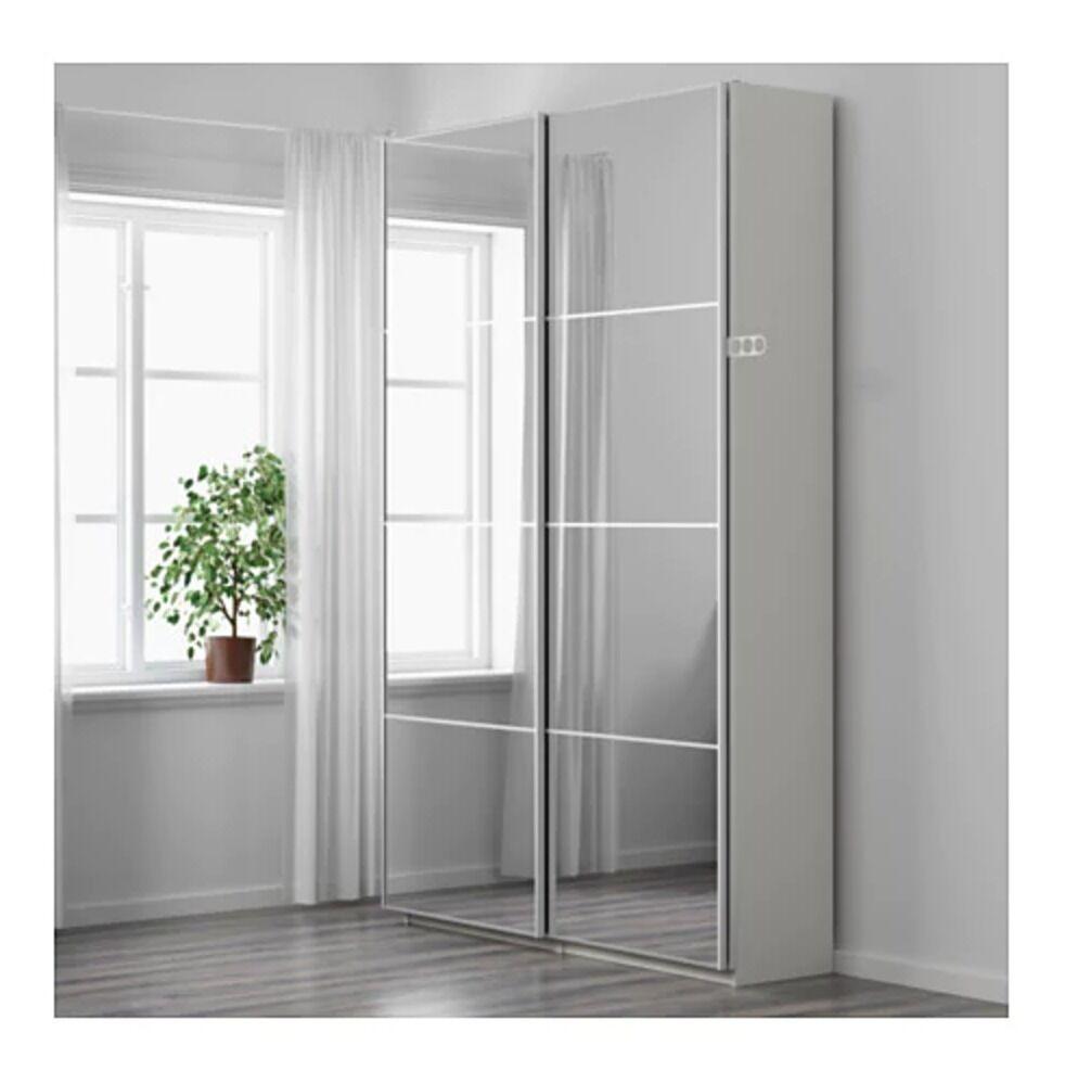 Amazing Wardrobe Set Ikea Pax Mirrored Sliding Door Double Wardrobe