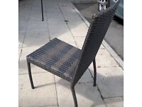 Rattan stackable chairs