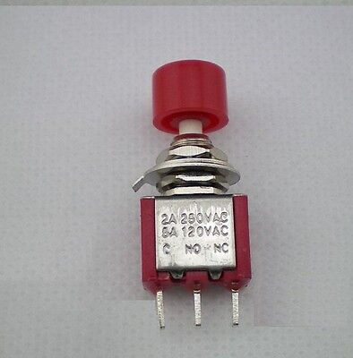 10pcs Momentary Push Button Switch ON-(OFF) N/C 2A 250V,5A 120AVAC,Red