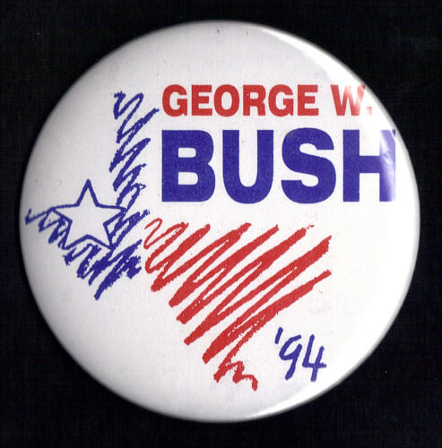 "1994 George W Bush 3"" / Texas Governor Campaign Button(xmas)"