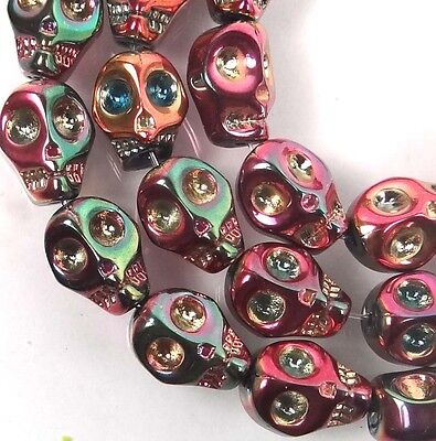 10mm Tiny Glass Metallic Coated Skull Beads Halloween (15 pc) -  Peacock rainbow - Halloween Peacock