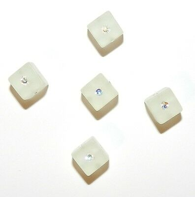 - APL292 Crystal AB Swarovski Crystal & White Resin 8mm Square Cube Beads