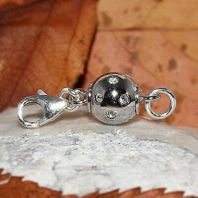 Vario Magnet Verschluss Zirkonia 8mm rhodin. Magnetschließe Karabiner 925 Silber