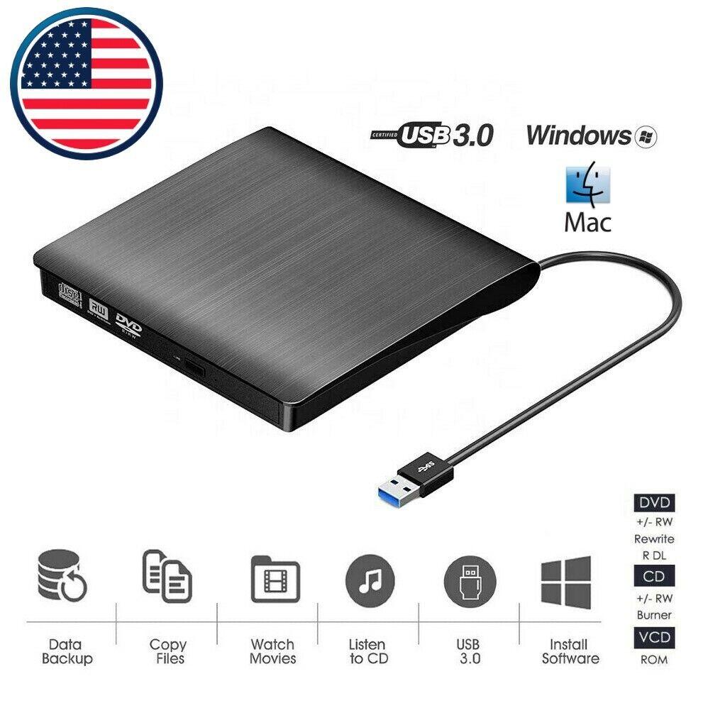 External Portable CD/DVD Drive Slim USB 3.0 Re-Writer Burner
