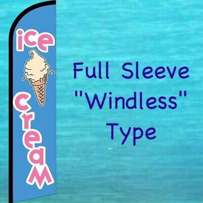 Ice Cream Windless Feather Flag Tall Curved Top Advertising Flutter Banner Sign