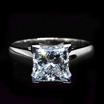 1.75 ct Princess Cut Classic Solitaire Diamond Engagement Ring  K VS2 GIA  Plat